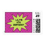 Purple Save the Day Superhero Birthday Postage