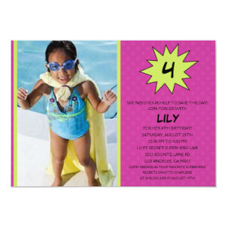 Purple Save the Day Superhero Photo Birthday Party 5x7 Paper Invitation Card