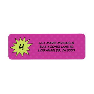 Purple Save the Day Superhero Return Address Label