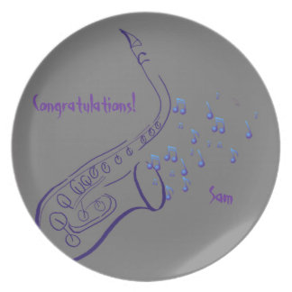 Purple Sax Playing Jazz Plate