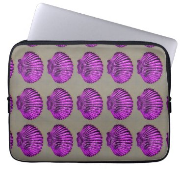 Beach Themed purple scallop shells computer sleeve