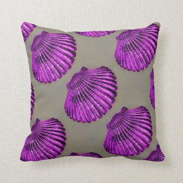 Beach Themed purple scallop shells grey Thunder_Cove Throw Pillow