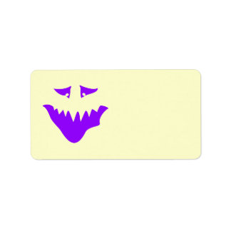 Purple Scary Face. Monster. Label