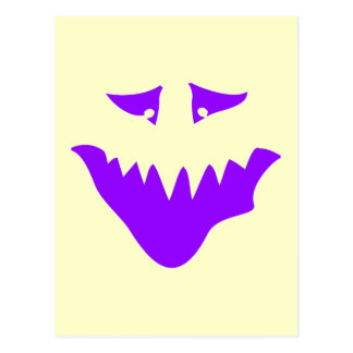 Purple Scary Face. Monster. Postcard
