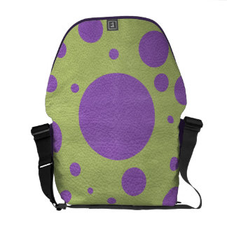 Purple Scattered Spots on Lime Leather Texture Courier Bag