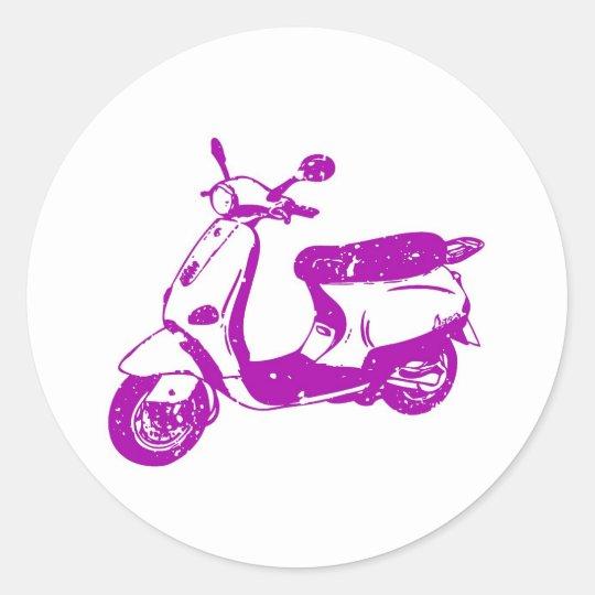 Purple Scooter Classic Round Sticker