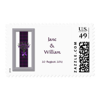 Purple Scottish Tartan & Heather Wedding Postage