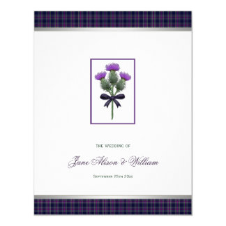 Purple Scottish Tartan Plaid and Thistle Wedding Card