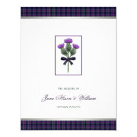 Purple Scottish Tartan Plaid and Thistle Wedding Invitation