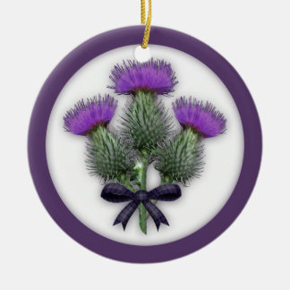 Purple Scottish Thistles with Tartan Plaid Bow Double-Sided Ceramic Round Christmas Ornament