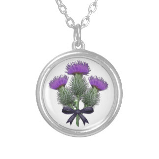 Purple Scottish Thistles with Tartan Plaid Bow Silver Plated Necklace