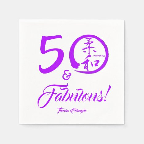 Purple Script 50 and Fabulous! with Gentleness Napkin