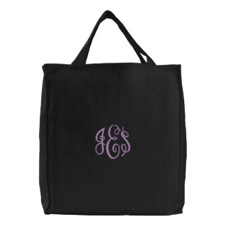 Purple Script Embroidered Monogram Embroidered Bags