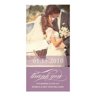 PURPLE SCRIPT THANKS   WEDDING THANK YOU CARD PHOTO CARD