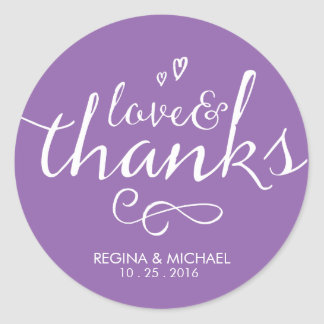 Purple Script Wedding Favor Thank You Sticker