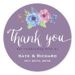Purple Script Wedding Thank You Floral Sticker