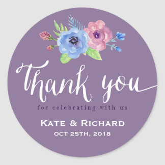 Purple Script Wedding Thank You Floral Sticker