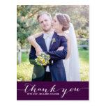 Purple Script Wedding Thank You Vertical Postcard