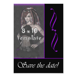 Purple Scroll Photo Goth Sweet 16 save the date Card