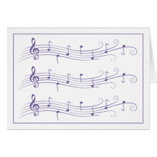 Purple Scrolled Music Staffs on White Note Card