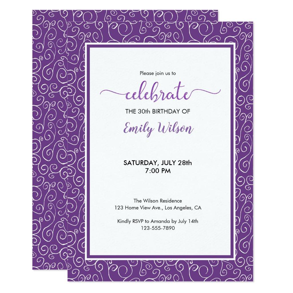 Purple Scrolling Pattern 30th Birthday Invitation