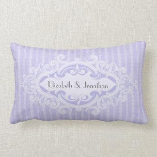 Purple Scrolls and Ribbons Wedding Lumbar Pillow