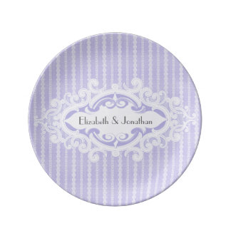 Purple Scrolls and Ribbons Wedding Porcelain Plates