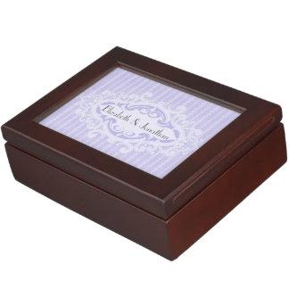 Purple Scrolls and Ribbons Wedding Memory Box