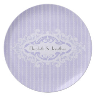Purple Scrolls and Ribbons Wedding Plates