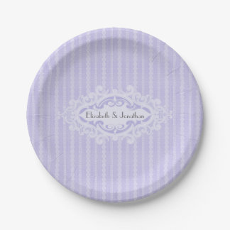 Purple Scrolls and Ribbons Wedding 7 Inch Paper Plate