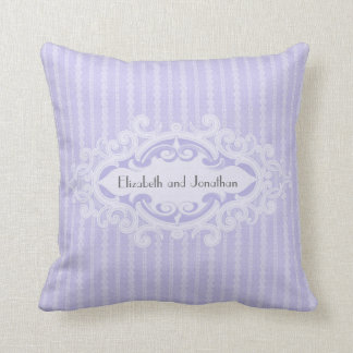 Purple Scrolls and Ribbons Wedding Throw Pillow