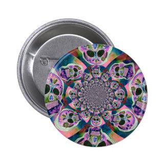 Purple Scull Swirl Design 2 Inch Round Button