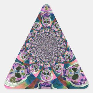 Purple Scull Swirl Design Triangle Sticker
