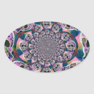 Purple Scull Swirl Design Oval Sticker