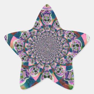 Purple Scull Swirl Design Star Sticker
