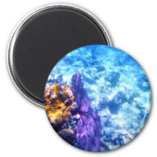 Purple Sea Fan 2 Inch Round Magnet