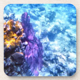 Purple Sea Fan Cork Coaster