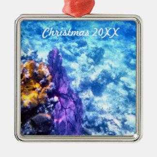 Purple Sea Fan Dated Square Metal Christmas Ornament