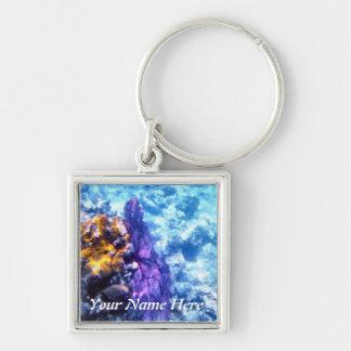 Purple Sea Fan Personalized Keychain