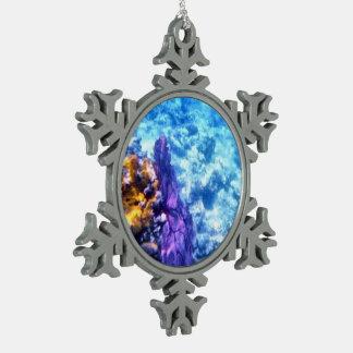 Purple Sea Fan Snowflake Pewter Christmas Ornament