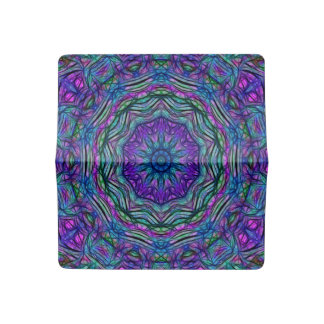 Purple Sea Green Kaleidoscope Checkbook Cover