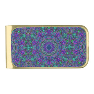 Purple Sea Green Kaleidoscope Gold Finish Money Clip