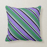 [ Thumbnail: Purple, Sea Green, Mint Cream, and Black Colored Throw Pillow ]