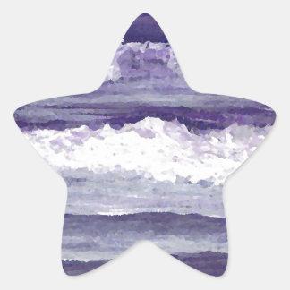 Purple Sea Ocean Beach Waves Dusk Sunset Sea Star Sticker