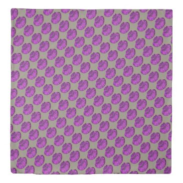 Beach Themed purple sea scallops pattern duvet cover