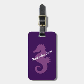 Purple Seahorse Custom Luggage Tag