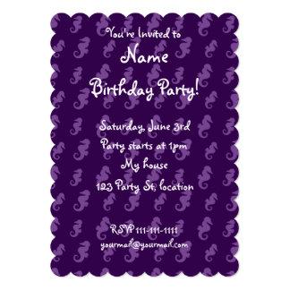 Purple seahorses 5x7 paper invitation card