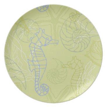 Beach Themed Purple Seahorses and Seashells Motif Plate