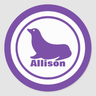 Purple Seal with Name Classic Round Sticker