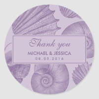 Purple Seashell Wedding Favor Thank You Sticker